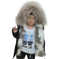 Spring Winter Women's Parker 2 in 1 Detachable Fur Inner and Large Real Raccoon Fur Baby Girl Jacket Coat for Kids Jackets