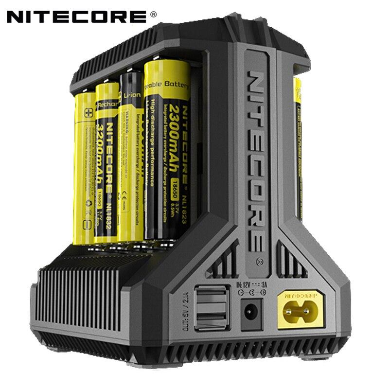 100% оригинал Nitecore батарея зарядное устройство I8 ЖК-дисплей Intelligent Зарядное устройство Li-Ion 18650 14500 26650 16340 AAA AA 12 В в зарядное устройство USB устро...