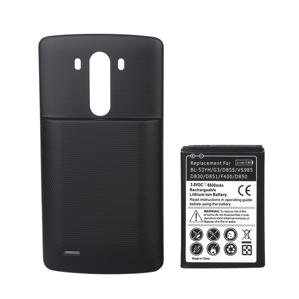 High Quality 6800mah Replacement Battery With Black Cover Case For LG G3 D855 VS985 D830 D851 F400 D850 Rechargeable Battery