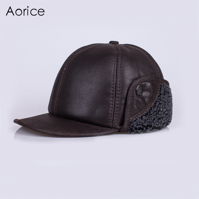 HL120 genuine leather  baseball cap hat brand new men's real skin leather adult adjustable solid hats caps with Faux fur inside