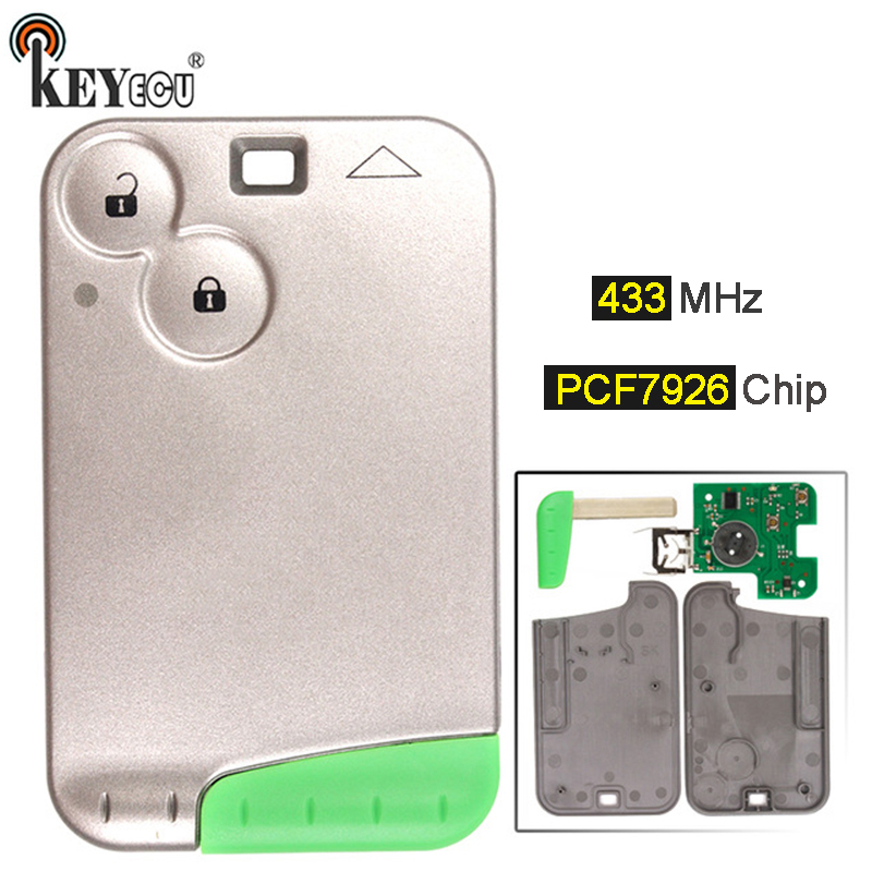 KEYECU 1x / 2x /10x  433MHz PCF7926 PCF7947 Chip 2 Button Smart Card Key Remote Key Fob for Renault Laguna Espace Vel-SatisKEYECU 1x / 2x /10x  433MHz PCF7926 PCF7947 Chip 2 Button Smart Card Key Remote Key Fob for Renault Laguna Espace Vel-Satis