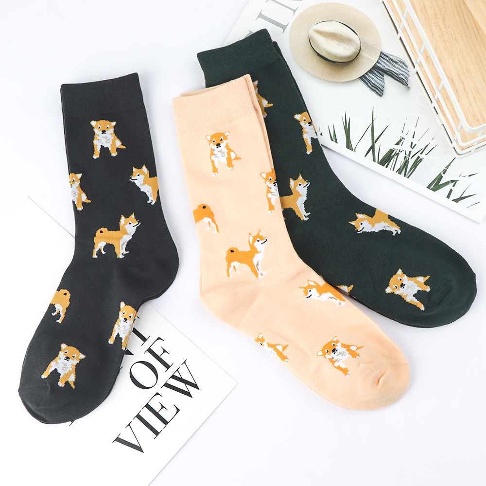 1 Pair Lovely Cartoon Women Combed Cotton Socks Women Funny Shiba Inu Dog Corgi Cute Animal Pattern Casual Sock 2019 New