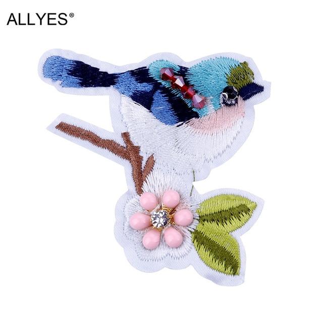 Allyes красивые Вышивка птица Броши для Для женщин ювелирные изделия Fahion Обувь для девочек Ткань Кристалл beadhat одежда с лацканами большой Булавки брошь