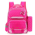 2016 NEW Children cartoon bow school bags pupil girls pink dot print backpacks kids girl and boys school bag combination