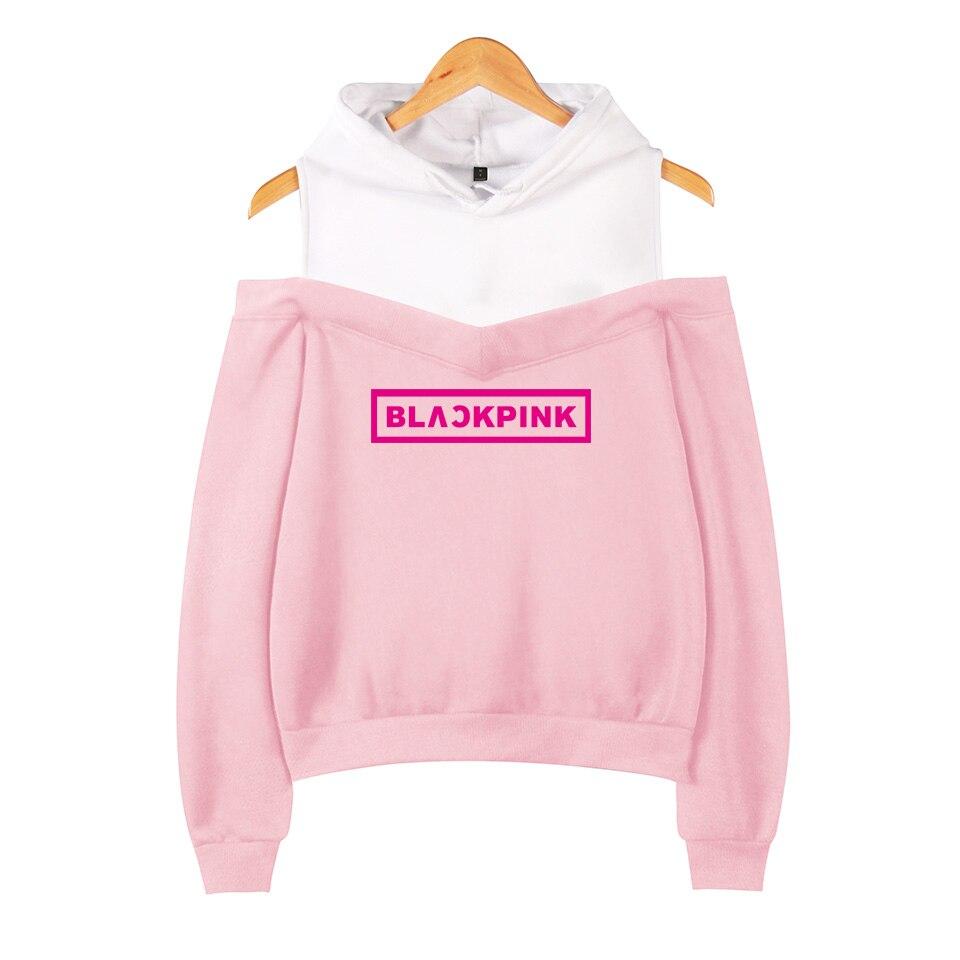 dd057e45afc Bts толстовки Kpop Blackpink сексуальные с открытыми плечами толстовки  женские команды член Толстовка Девушка Группа черный розовый одежда