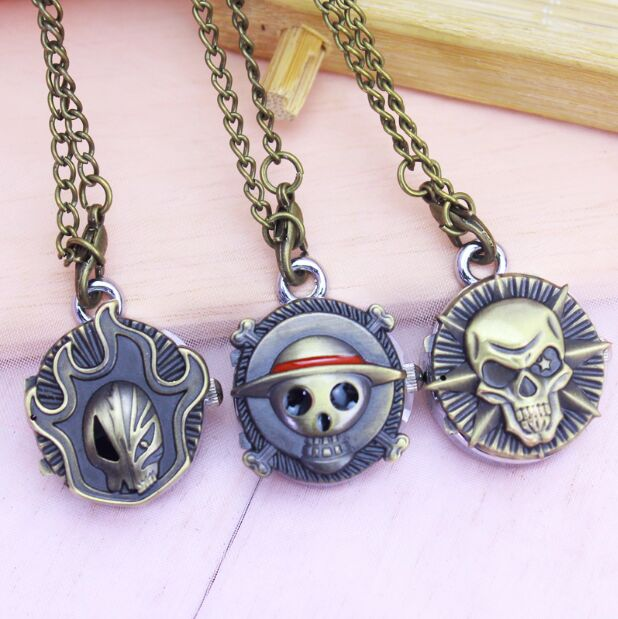 2018 High Quality Vintage Bronze Little Cute Small Ancient Skeleton Skull Design Retro Pendant Pocket Watch With Necklace Chain