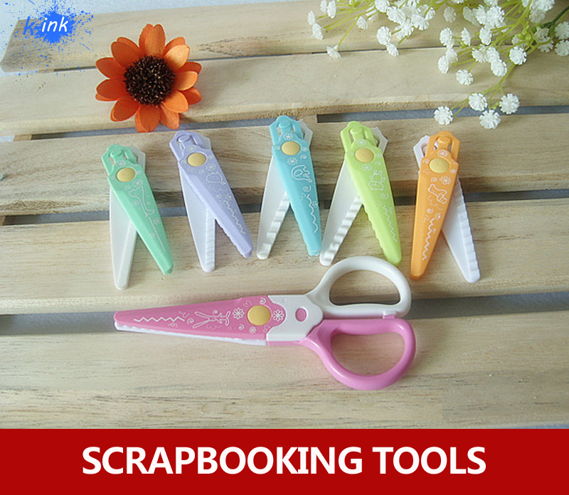 6 In 1 Different Shape Scissors For Scrapbooking , Paper Cutting Scrapbook Scissors For Kids DIY Decoration Tools