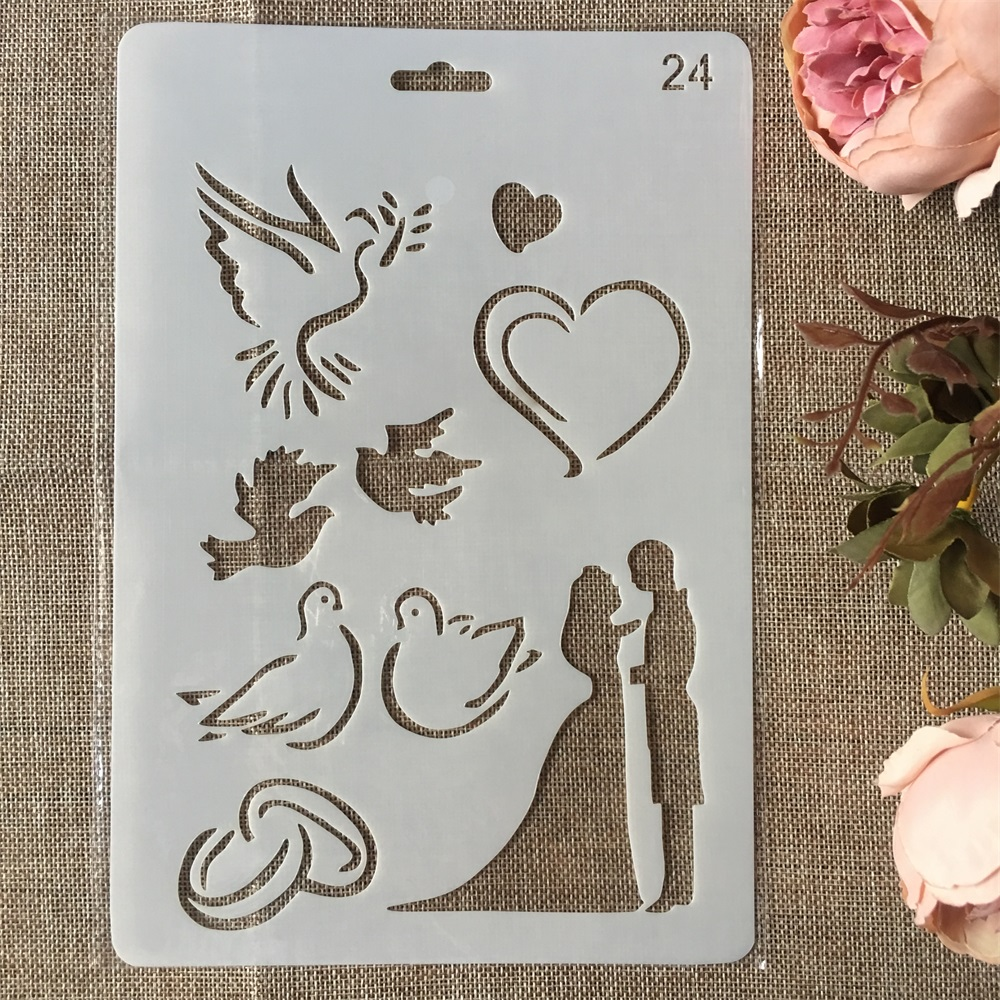 New 26cm Wedding Couple Dove Heart DIY Craft Layering Stencils Painting Scrapbooking Stamping Embossing Album Card Template