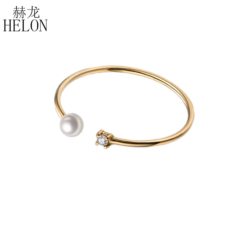 HELON SI/H Natural Diamond Band White FreshWater Pearl Solid 10k Yellow Gold Women Ring Engagement Party Fine Jewelry Thin ringHELON SI/H Natural Diamond Band White FreshWater Pearl Solid 10k Yellow Gold Women Ring Engagement Party Fine Jewelry Thin ring