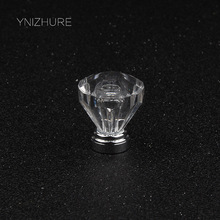 25mm 10pcs Transparent Cabinet Acrylic Clear Knob Drawer Cupboard Closet Dresser Pull Single Handle Kitchen Crystal Handles