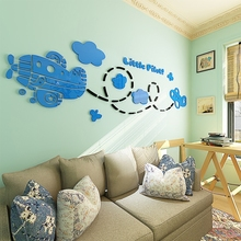 2018 new acrylic 3D stereoscopic wall sticker, aircraft childrens room cartoon sticker baby bedroom background