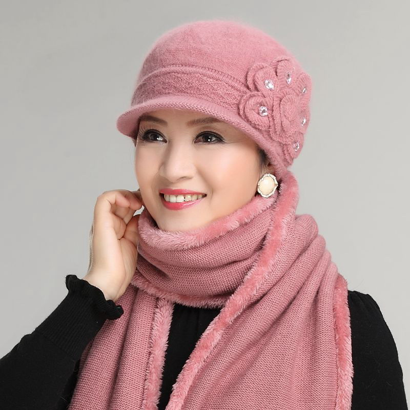 Kagenmo Female Winter Warm Twinset Cap Scarf Warm Winter Rabbit Knit Hat Thermal Windproof Scarves Mother New Year Gift