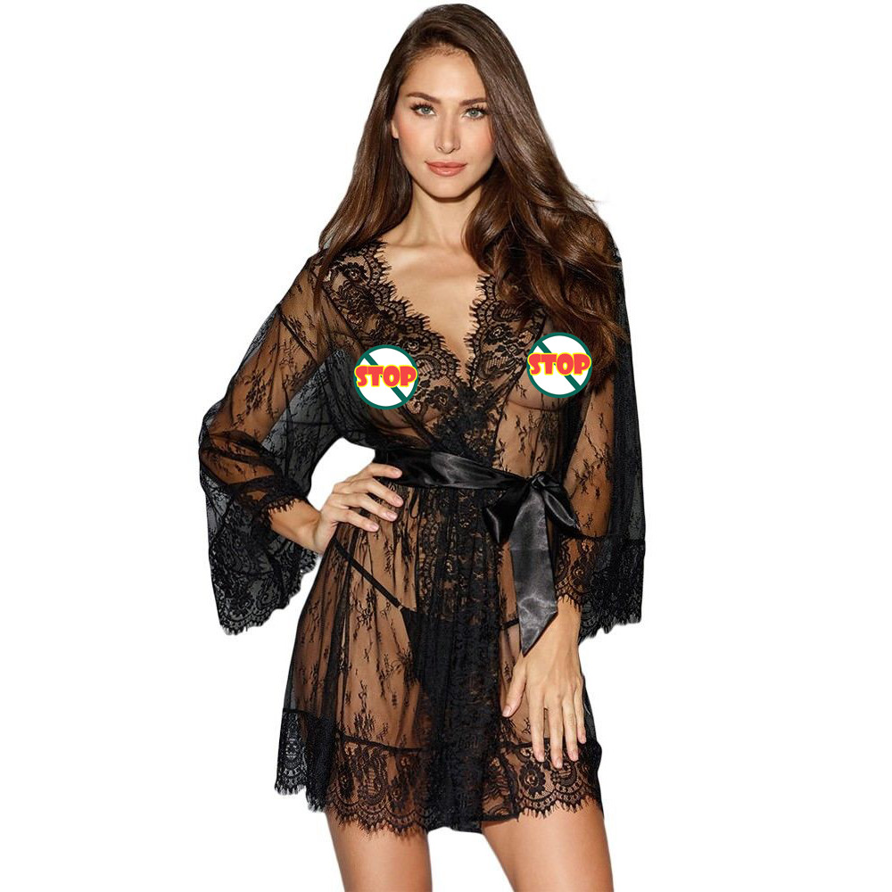 Women Sexy Lingerie Transparent erotic Lace Babydoll Nightwear Underwear Transparent night gown Robe Sleepwear sexy costumes