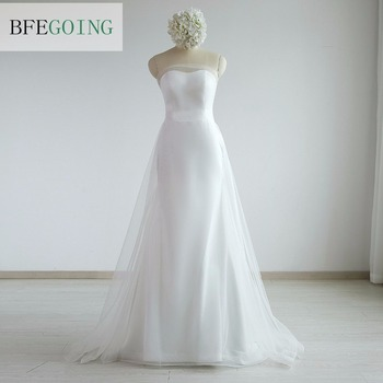 Ivory Tulle A-line Wedding Dress Chapel Train Floor-Length  Strapless Sleeveless  Off the Shoulder  Real/ Original Photos