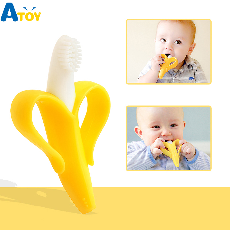 Silicone Teether Baby Teething Toys Banana Teether Infant Oral Care Toothbrush Chewing Toy Fruit Teethers High Quality And Safe