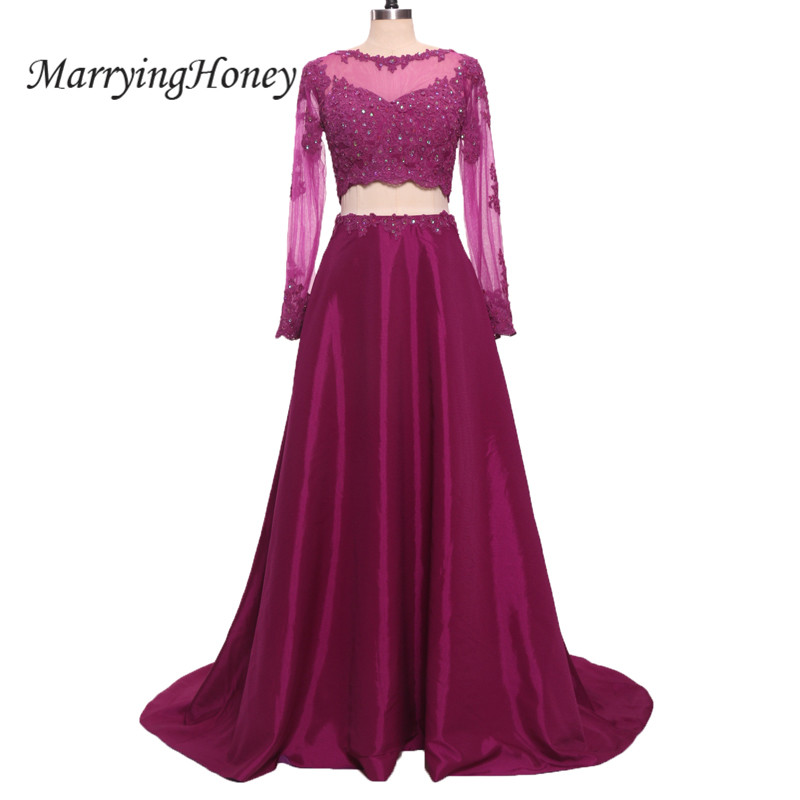 Sexy Two Pieces Long Sleeve Prom Dresses Sheer Purple