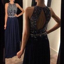 Mode Perlen Kristall Marineblau Prom Kleider A-Line chiffon bodenlangen abendkleider vestido de festa longo schlüsselloch zurück