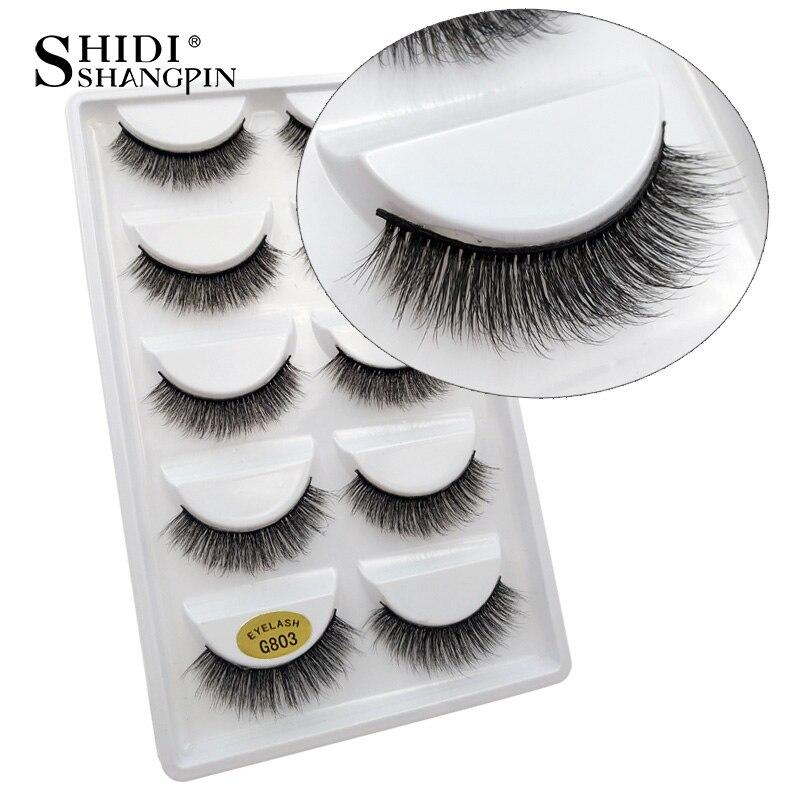 SHIDISHANGPIN 5 Pairs Mink Eyelashes Natural Long 3d Mink Lashes Hand Made False Eyelashes 1 Box Makeup Eyelash Extension G803