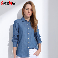 Denim Shirt Female Long Sleeve Shirt Womens Denim Blouse Classic Shirt Jeans 2017 Cotton Slim Tops
