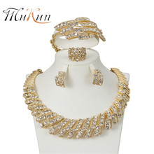 MUKUN 2017 Fashion Dubai Gold-color Jewelry Set Nigerian Wedding African Beads Earrings Necklace set lady party accessories 2017 white crystal flower necklaces bracelet earrings set nigerian accessories wedding bead african costume free shippingabh016