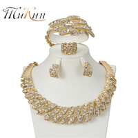 MUKUN 2017 Fashion Dubai Gold-color Jewelry Set Nigerian Wedding African Beads Earrings Necklace set lady party accessories