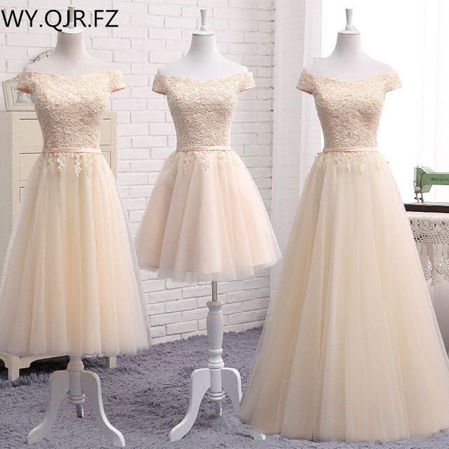 MNZ502X#lace up bridesmaid dresses new autumn 2019 short middle long style prom dress girls champagne blue plus size Custom