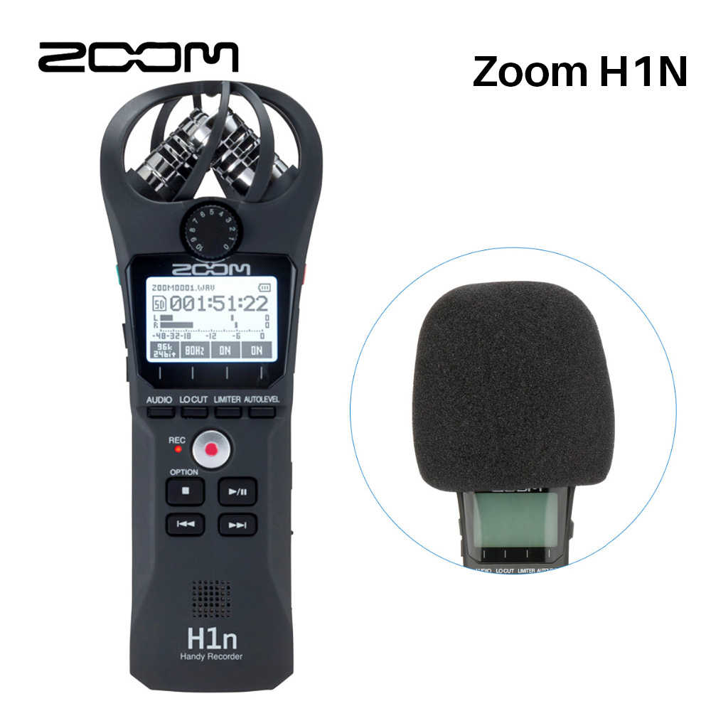 zoom h1n handy digital voice recorder portable audio stereo microphone zoom for nikon canon pentax dslr [ 1000 x 1000 Pixel ]
