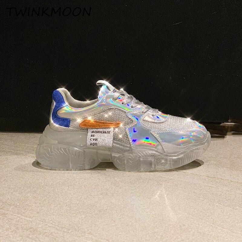 Women Sneakers Crystal Transparent Heel