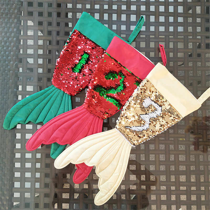 Mermaid Christmas Stocking.50pcs Wholesale 2018 New Monogram Mermaid Tail Christmas Stocking Glitter Stockings 3 Colors Chistmas Gift Bags Tree Decoration