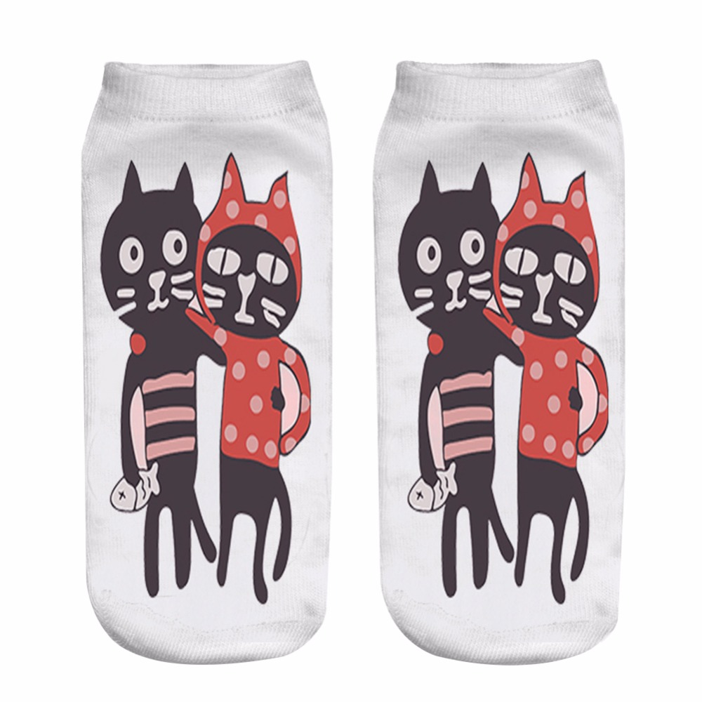 Cute Love Cat Couples Print 3D Socks for Men Women Teenager Socks Casual short sock 2018 birthday gift 19cm*8 WHL-YZ9267