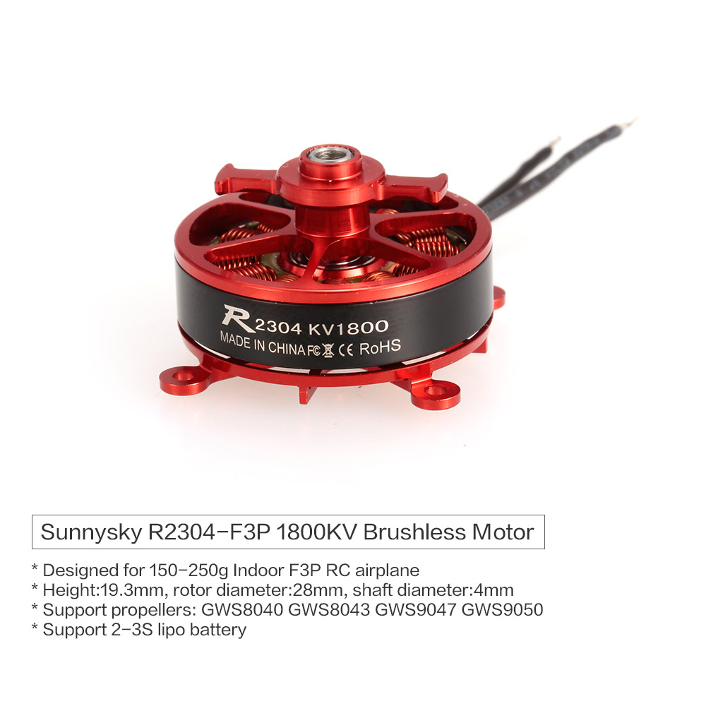 Sunnysky R2304 2304 1800KV 2-3S Brushless Motor for Indoor F3P RC Delta Fixed Wing Airplane 2403 rc brushless outrunner sparrow hobby motor 1500kv 1800kv for f3p 3d airplane