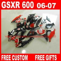 ABS Fairing kit for SUZUKI K6 GSXR 600 750 2006 2007 red black LUCKY STRIKE motobike fairings set gsx r600 GSX R750 06 07 CB9