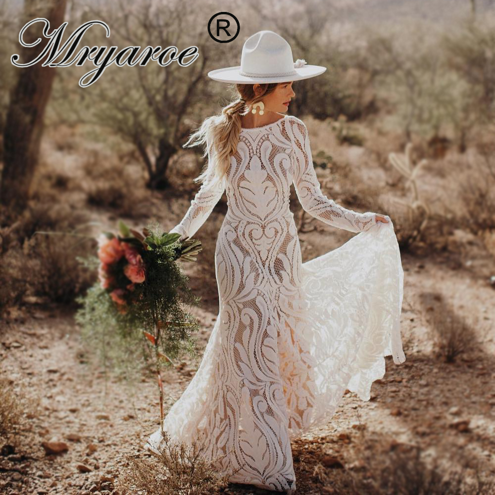 Mryarce 2019 Unique Bride Bohemian Wedding Dress Full Lace Open Back Long Sleeves Boho Chic Modern Bridal Gowns