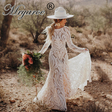 Mryarce ייחודי הכלה בוהמי חתונת שמלה מלא תחרה פתוח חזרה ארוך שרוולים Boho שיק מודרני שמלות כלה