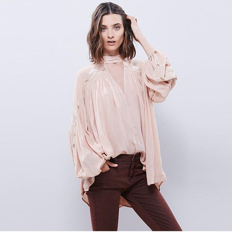 2018 Vintage col en V profond chemise lanterne manches casual femmes lâche ethnique Blouse hauts grande taille