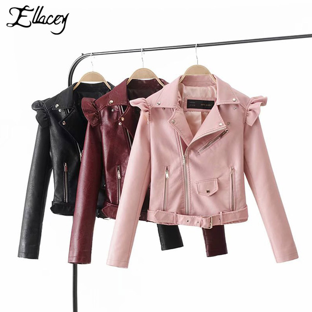 43ec962760 Ellacey 2018 Autumn Winter Coats Women Fashion Motorcycle Jacket Black  Outerwear Faux Leather PU Jacket Zipper Ruched Coat