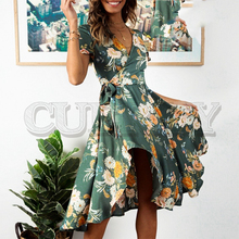 CUERLY Elegant floral print satin women dress Wrap v neck high waist summer dresses Sexy bow tie green casual female vestidos