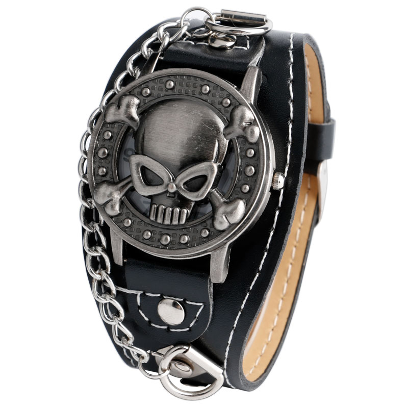 popular cool wrist watch buy cheap cool wrist watch lots from fashion mens wrist watch cool skull shape black leather band strap girl boy s quartz watches chain