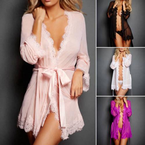 Womens Sexy Lingerie Nightwear Underwear G string Babydoll Sleepwear Bath Robe in Robes from Underwear Sleepwears