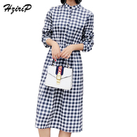 2017 Explosions Leisure Vintage Fashion Dresses Autumn Women Plaid Check Print Spring Stand Collar Casual Dress