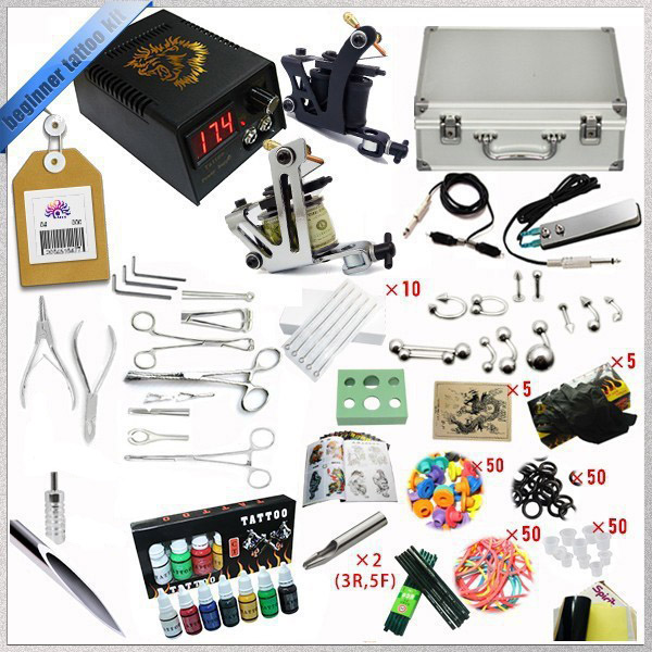 High quality 2 Gun Rotary Tattoo Kit Glitter Complete Machine Equipment Sets+Ink + Piercing Tools for Beginners Body Art #T 1 sets of tattoo machine high quality