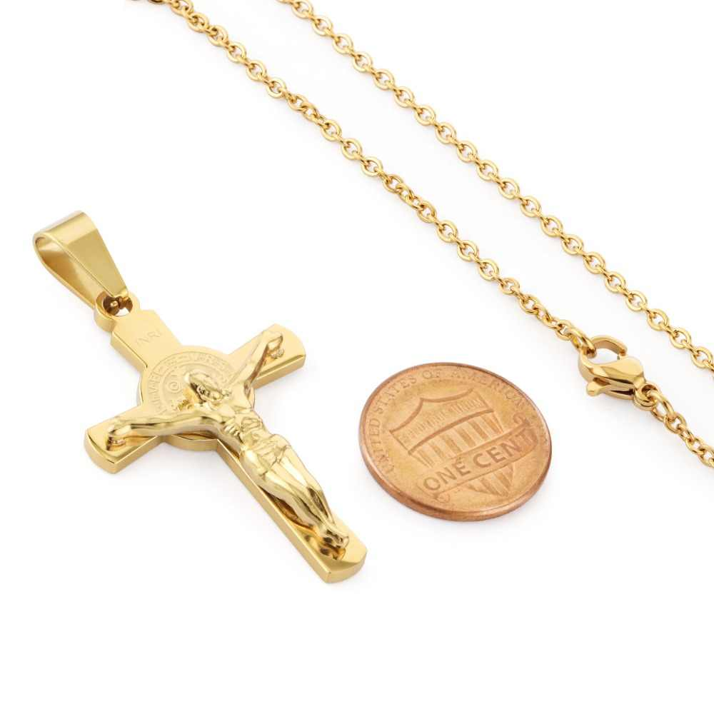 Women Gold Stainless Steel Christ Jesus Bible Cross Pendant Necklaces Chain 40CM