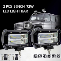 2Pcs 5inch 72W LED Light Bar Spot Beam Working Light Driving Fog Lamp Road Lighting For