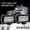 2Pcs 5inch 72W LED Light Bar Spot Beam Working Light Driving Fog Lamp Road Lighting For
