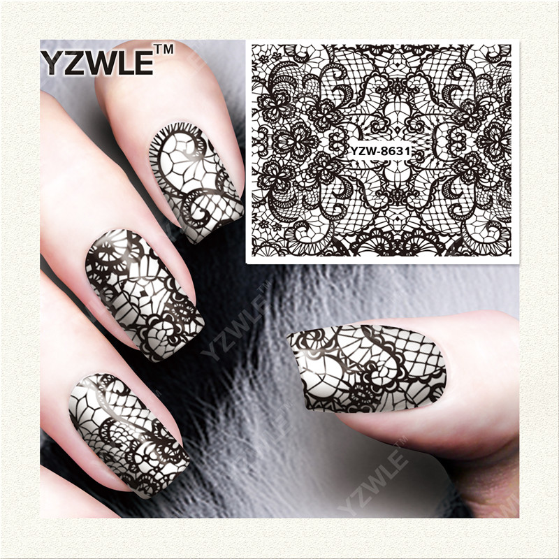 YZWLE 1 Sheet DIY Decals Nails Art Water Transfer Printing Stickers Accessories For Manicure Salon (YZW-8631) yzwle 1 sheet hot gold 3d nail art stickers diy nail decorations decals foils wraps manicure styling tools yzw 6015