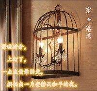 American retro loft iron crystal bird cage wall lamp bar restaurant coffee shop wall lamp