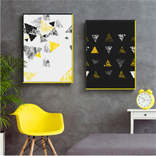 3 Pieces Nordic Abstract Color Geometry Hanging Printed Canvas Home Wall Art
