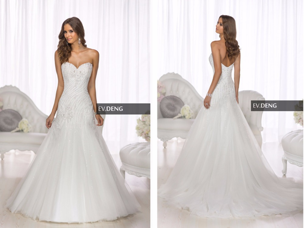 summer style romantic new sexy a-line casamento beading vestido de noiva 2018 hot sale sweetangel Bridal Gown   bridesmaid     dresses