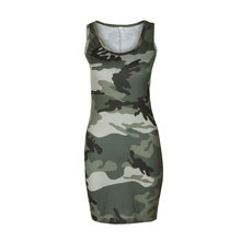 Sexy Short Camouflage Printed Slim Sleeveless Bodycon Casual Club Dress For Women Fashion Beach