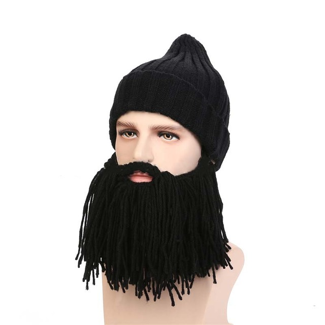 830fb7b15fa Novelty 2018 Knitted Autumn Winter Warm Men Caps Viking Beanies Beard Hats Funny  Hat For Party